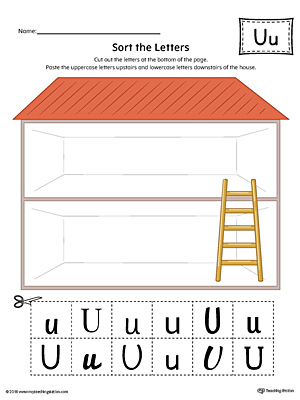 Sort the Uppercase and Lowercase Letter U Worksheet (Color)