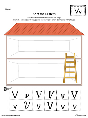 Sort the Uppercase and Lowercase Letter V Worksheet (Color)
