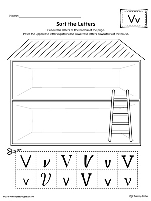 Sort the Uppercase and Lowercase Letter V Worksheet