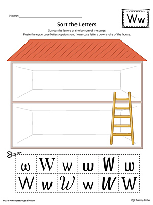 Sort the Uppercase and Lowercase Letter W Worksheet (Color)