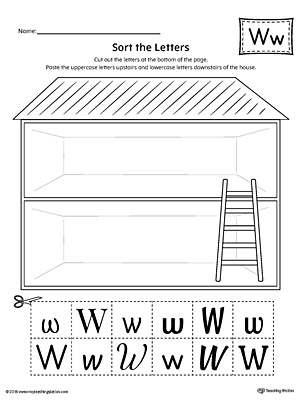 Sort The Upper And Lowercase Letter W Worksheet on preschool letter t worksheets