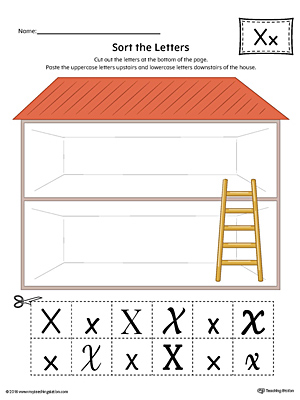 Sort the Uppercase and Lowercase Letter X Worksheet (Color)