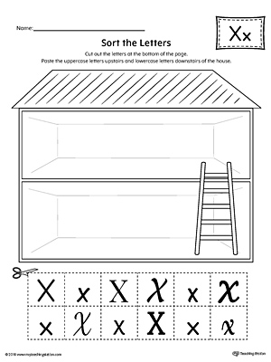 Sort the Uppercase and Lowercase Letter X Worksheet