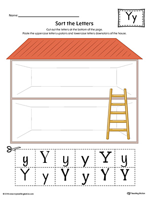 Sort the Uppercase and Lowercase Letter Y Worksheet (Color)