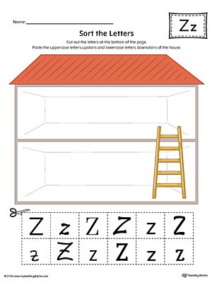 Sort the Uppercase and Lowercase Letter Z Worksheet (Color)