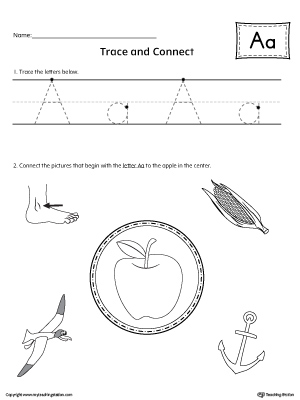 Trace Letter A and Connect Pictures printable worksheet available for download at myteachingstation.com.