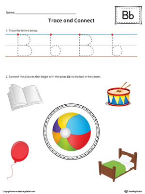 Trace Letter B and Connect Pictures (Color) printable worksheet available for download at myteachingstation.com.