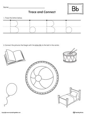 Trace Letter B and Connect Pictures