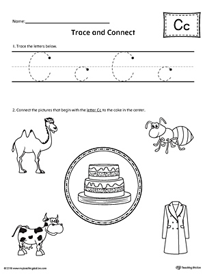 letter c tracing printable worksheet  myteachingstationcom trace letter c and connect pictures worksheet