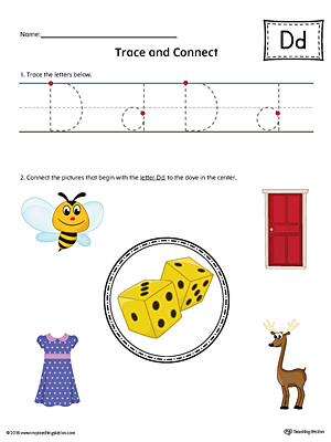 Trace Letter D and Connect Pictures Worksheet (Color)