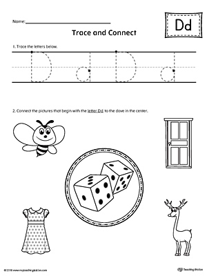 Trace Letter D and Connect Pictures Worksheet