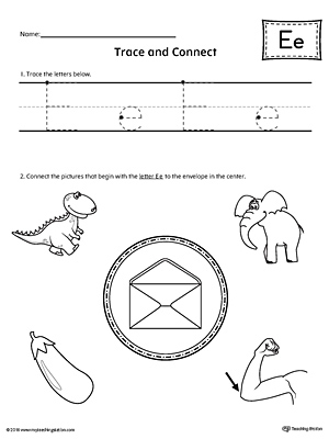 Trace Letter E and Connect Pictures Worksheet