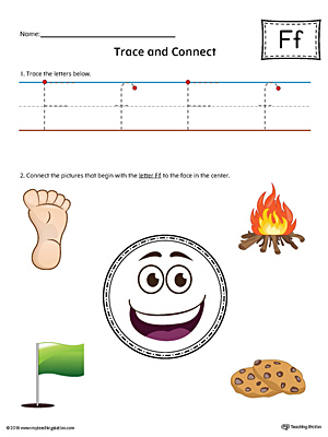 Trace Letter F and Connect Pictures Worksheet (Color)