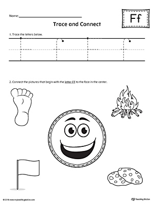 Trace Letter F and Connect Pictures printable worksheet available for download at myteachingstation.com.