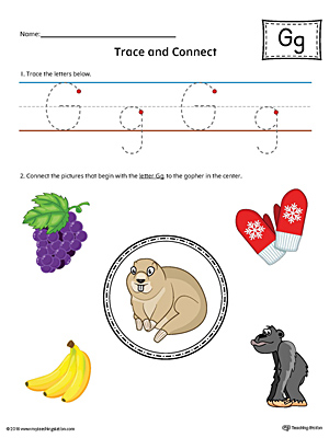 Trace Letter G and Connect Pictures Worksheet (Color)