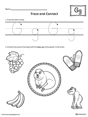 Trace Letter G and Connect Pictures Worksheet