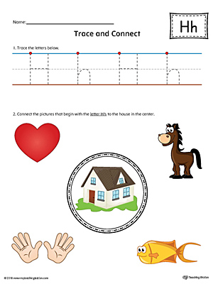 Trace Letter H and Connect Pictures Worksheet (Color)
