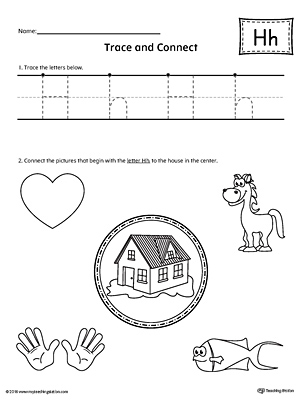 Trace Letter H and Connect Pictures printable worksheet available for download at myteachingstation.com.