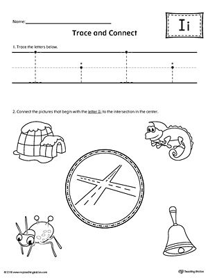 Trace Letter I and Connect Pictures Worksheet