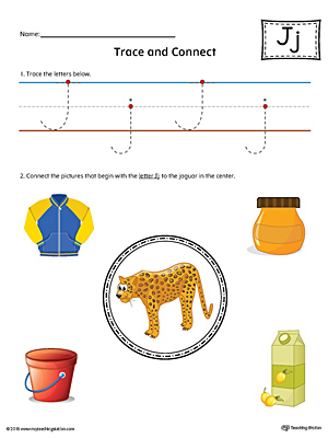 Trace Letter J and Connect Pictures Worksheet (Color)