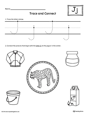 Trace Letter J and Connect Pictures Worksheet