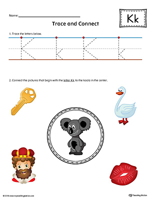 Trace Letter K and Connect Pictures (Color) printable worksheet available for download at myteachingstation.com.