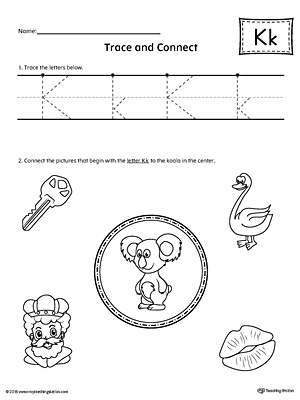 Trace Letter K and Connect Pictures Worksheet