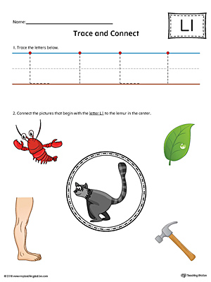 Trace Letter L and Connect Pictures Worksheet (Color)