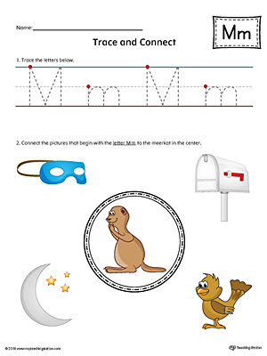 Trace Letter M and Connect Pictures Worksheet (Color)