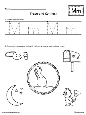 Trace Letter M and Connect Pictures Worksheet