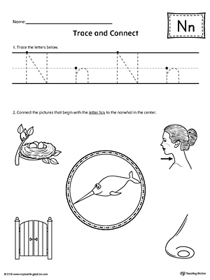 Trace Letter N and Connect Pictures Worksheet
