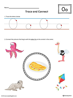 Trace Letter O and Connect Pictures Worksheet (Color)