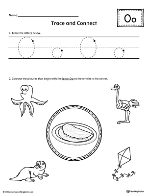 Trace Letter O and Connect Pictures printable worksheet available for download at myteachingstation.com.