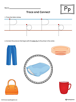 Trace Letter P and Connect Pictures Worksheet (Color)
