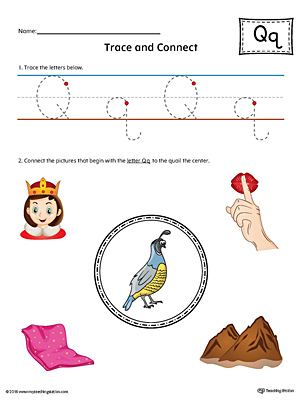 Trace Letter Q and Connect Pictures Worksheet (Color)
