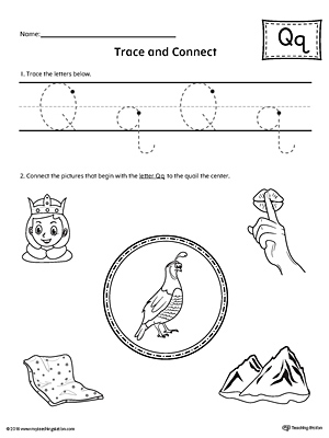 trace letter q and connect pictures worksheet. Black Bedroom Furniture Sets. Home Design Ideas