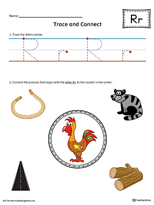 Trace Letter R and Connect Pictures Worksheet (Color)