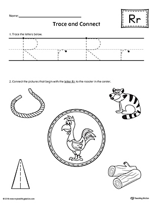 Trace Letter R and Connect Pictures Worksheet