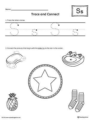Trace Letter S and Connect Pictures Worksheet