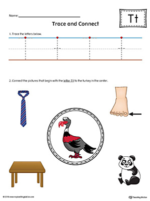 Trace Letter T and Connect Pictures Worksheet (Color)