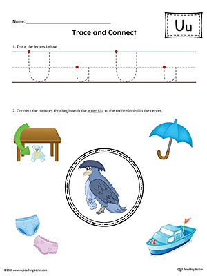 Trace Letter U and Connect Pictures Worksheet (Color)