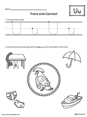 Trace Letter U and Connect Pictures printable worksheet available for download at myteachingstation.com.