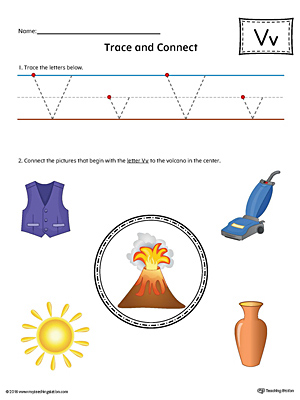 Trace Letter V and Connect Pictures (Color) printable worksheet available for download at myteachingstation.com.