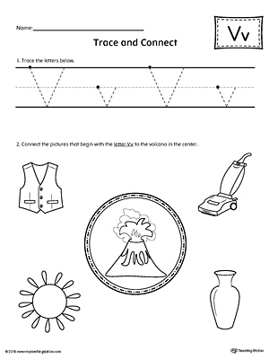 Trace Letter V and Connect Pictures Worksheet