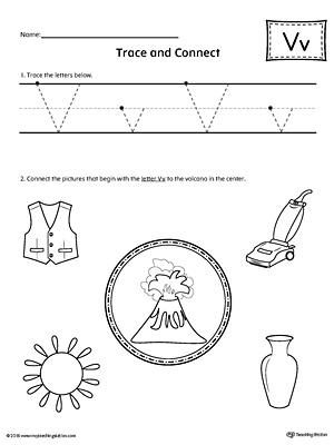 Trace Letter V And Connect Pictures Worksheet Myteachingstation Com