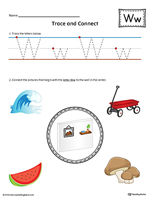 Trace Letter W and Connect Pictures Worksheet (Color)