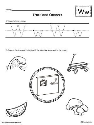 Trace Letter W and Connect Pictures Worksheet