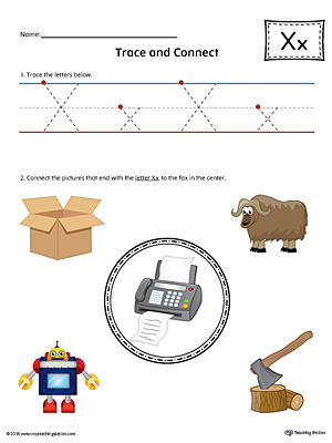 Trace Letter X and Connect Pictures Worksheet (Color)