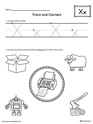 Trace Letter X and Connect Pictures Worksheet | MyTeachingStation.com
