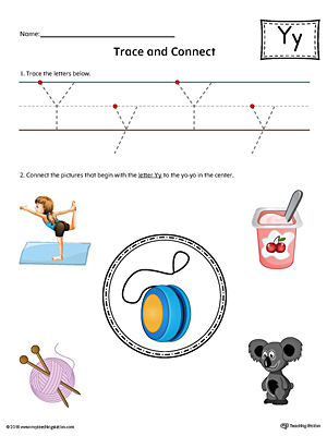 Trace Letter Y and Connect Pictures Worksheet (Color)